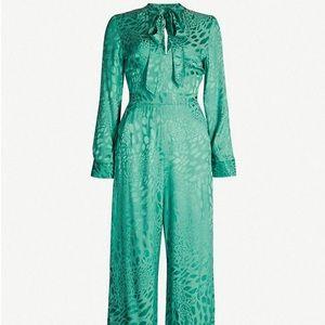 Topshop animal jacquard green jumpsuit size 6